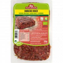 Burguer Sarraceno, verduras braseadas, alubias rojas y almendras