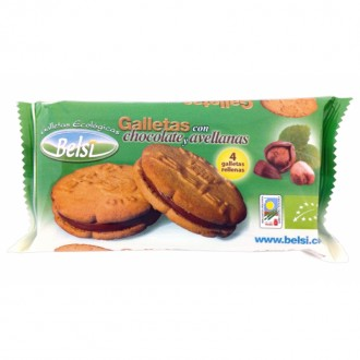 Galletas rellenas de chocolate y avellanas bio 70g
