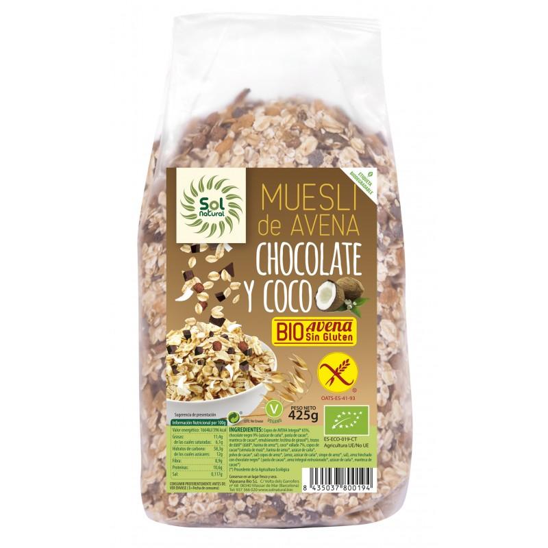 Muesli Avena Coco Chocolate Sin Gluten 425g Sol Natural
