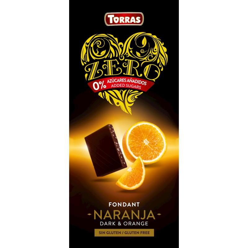 Chocolate Negro con Naranjo Zero Azúcar 125g Torras
